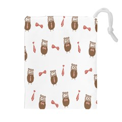 Insulated Owl Tie Bow Scattered Bird Drawstring Pouches (Extra Large)
