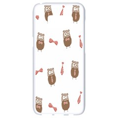 Insulated Owl Tie Bow Scattered Bird Samsung Galaxy S8 White Seamless Case