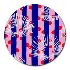 Line Vertical Polka Dots Circle Flower Blue Pink White Round Mousepads