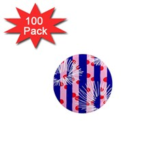 Line Vertical Polka Dots Circle Flower Blue Pink White 1  Mini Magnets (100 pack)