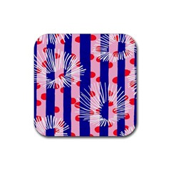 Line Vertical Polka Dots Circle Flower Blue Pink White Rubber Coaster (Square)
