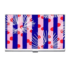 Line Vertical Polka Dots Circle Flower Blue Pink White Business Card Holders