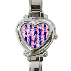 Line Vertical Polka Dots Circle Flower Blue Pink White Heart Italian Charm Watch