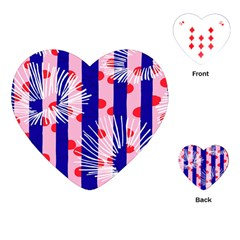 Line Vertical Polka Dots Circle Flower Blue Pink White Playing Cards (Heart)