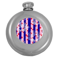 Line Vertical Polka Dots Circle Flower Blue Pink White Round Hip Flask (5 oz)