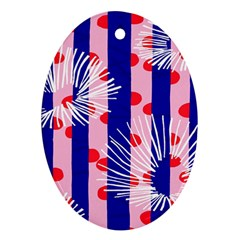 Line Vertical Polka Dots Circle Flower Blue Pink White Oval Ornament (Two Sides)
