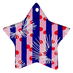 Line Vertical Polka Dots Circle Flower Blue Pink White Star Ornament (Two Sides)
