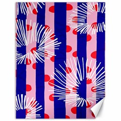 Line Vertical Polka Dots Circle Flower Blue Pink White Canvas 18  x 24
