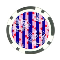 Line Vertical Polka Dots Circle Flower Blue Pink White Poker Chip Card Guard (10 Pack)