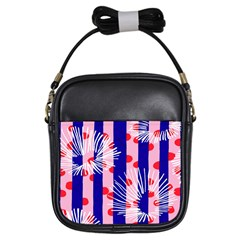 Line Vertical Polka Dots Circle Flower Blue Pink White Girls Sling Bags