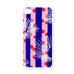 Line Vertical Polka Dots Circle Flower Blue Pink White Apple iPhone 4 Case (White)