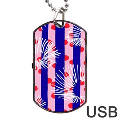 Line Vertical Polka Dots Circle Flower Blue Pink White Dog Tag USB Flash (Two Sides)