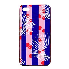Line Vertical Polka Dots Circle Flower Blue Pink White Apple iPhone 4/4s Seamless Case (Black)