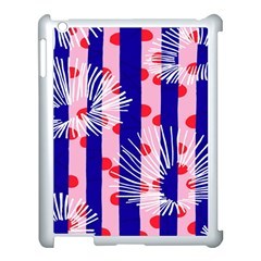 Line Vertical Polka Dots Circle Flower Blue Pink White Apple iPad 3/4 Case (White)