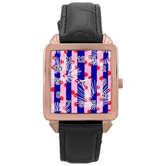 Line Vertical Polka Dots Circle Flower Blue Pink White Rose Gold Leather Watch