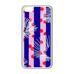 Line Vertical Polka Dots Circle Flower Blue Pink White Apple iPhone 5C Seamless Case (White)