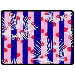 Line Vertical Polka Dots Circle Flower Blue Pink White Double Sided Fleece Blanket (Large)