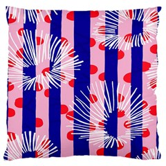 Line Vertical Polka Dots Circle Flower Blue Pink White Large Flano Cushion Case (Two Sides)