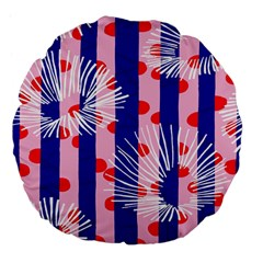 Line Vertical Polka Dots Circle Flower Blue Pink White Large 18  Premium Flano Round Cushions