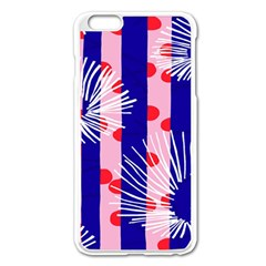 Line Vertical Polka Dots Circle Flower Blue Pink White Apple iPhone 6 Plus/6S Plus Enamel White Case