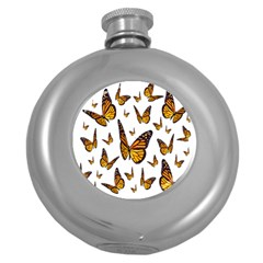 Butterfly Spoonflower Round Hip Flask (5 Oz)