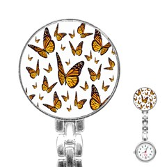 Butterfly Spoonflower Stainless Steel Nurses Watch