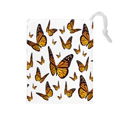 Butterfly Spoonflower Drawstring Pouches (Large)