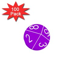 Number Purple 1  Mini Buttons (100 pack)