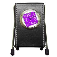 Number Purple Pen Holder Desk Clocks