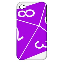 Number Purple Apple iPhone 4/4S Hardshell Case (PC+Silicone)