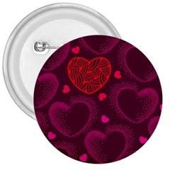 Love Heart Polka Dots Pink 3  Buttons