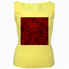 Love Heart Polka Dots Pink Women s Yellow Tank Top