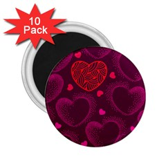Love Heart Polka Dots Pink 2.25  Magnets (10 pack)