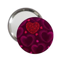 Love Heart Polka Dots Pink 2.25  Handbag Mirrors