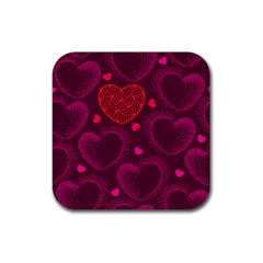 Love Heart Polka Dots Pink Rubber Square Coaster (4 pack)