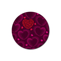 Love Heart Polka Dots Pink Rubber Round Coaster (4 pack)