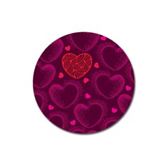 Love Heart Polka Dots Pink Magnet 3  (round)