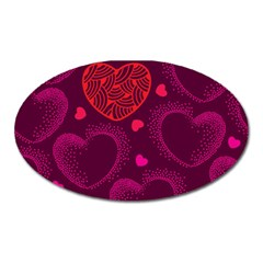 Love Heart Polka Dots Pink Oval Magnet