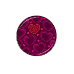 Love Heart Polka Dots Pink Hat Clip Ball Marker (4 pack)