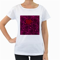 Love Heart Polka Dots Pink Women s Loose-Fit T-Shirt (White)