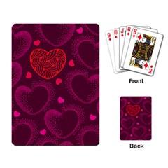Love Heart Polka Dots Pink Playing Card