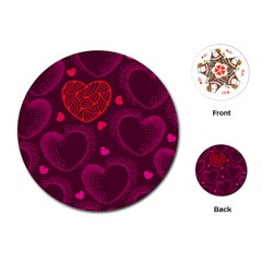 Love Heart Polka Dots Pink Playing Cards (Round)