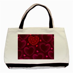 Love Heart Polka Dots Pink Basic Tote Bag (Two Sides)
