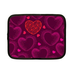 Love Heart Polka Dots Pink Netbook Case (Small)