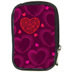 Love Heart Polka Dots Pink Compact Camera Cases