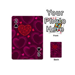 Love Heart Polka Dots Pink Playing Cards 54 (Mini)