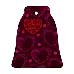 Love Heart Polka Dots Pink Bell Ornament (two Sides)