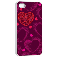 Love Heart Polka Dots Pink Apple iPhone 4/4s Seamless Case (White)