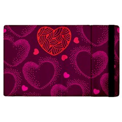 Love Heart Polka Dots Pink Apple iPad 3/4 Flip Case
