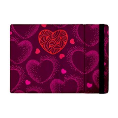 Love Heart Polka Dots Pink Apple iPad Mini Flip Case